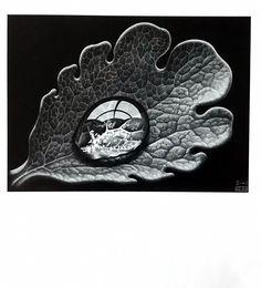 ESCHER print DEWDROP, Vintage Escher Print, Escher LEAF print, Optic Art Print, Escher Poster, Fantasy Print, Graphic Art, Ready to Frame by MushkaVintage3 on Etsy Antique Prints, Vintage Prints, Vintage Items, Escher Prints, Leaf Prints, Art Prints, Mc Escher, Graphic Art, Rings For Men