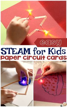 Making paper circuit cards is the perfect union of science, technology, art, and design. For that reason, this activity fits perfectly into any STEAM or STEM curriculum at school, for library events, or just for fun at home. Let kids unleash their creativity as they experiment with paper circuit art and create a unique card that really lights up! #sciencekiddo #scienceforkids #kidsscience #STEM #STEAM