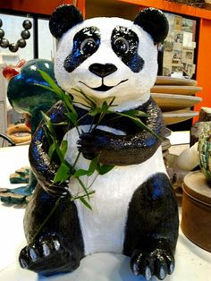 Panda in clay. 58 cm. h. march 2014 (sold) By Rooie Heidi.