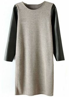 Grey Contrast PU Leather Sleeve Dress pictures