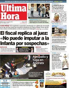 Los Titulares y Portadas de Noticias Destacadas Españolas del 6 de Abril de 2013 del Diario Ultima Hora Baleares ¿Que le parecio esta Portada de este Diario Español?