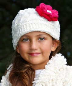 Another great find on #zulily! Ecru & Pink Flower Cable-Knit Wool Beanie by Little Cotton Dress #zulilyfinds