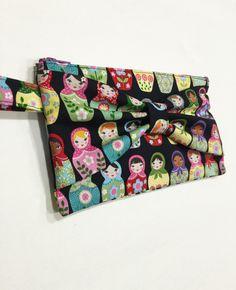 Russian Doll, Black Matryoshka Fabric Clutch, Wristlet by HisBowTieHerHandbags on Etsy