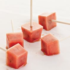 Minted Watermelon Popsicles Recipe on Food & Wine - Yum! I just like the idea of watermelon popsicles, that sounds super easy. Watermelon Popsicles, Watermelon Mint, Watermelon Recipes, Fruit Recipes, Wine Recipes, Dessert Recipes, Grilled Watermelon, Frozen Watermelon, Budget Recipes