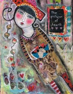 Mixed Media Painting Collage Print  Modern Folk  by kittyjujube, $12.00