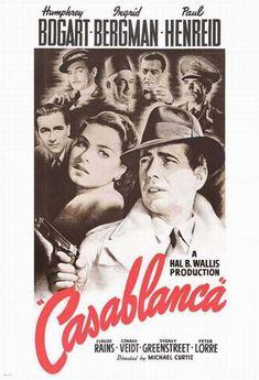 Casablanca, starring Humphrey Bogart and Ingrid Bergman, with Paul Henreid and Peter Lorre. One of my favorite movies. Old Movies, Vintage Movies, Great Movies, Vintage Posters, 1940s Movies, Vintage Gifts, Beau Film, Classic Movie Posters, Classic Movies