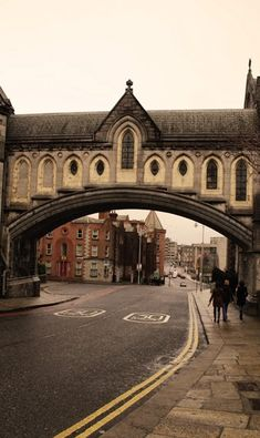 """Christ Church Cathedral bridge over to the former synod hall. The earliest manuscript dates Christ Church  cathedral to its present location around 1030. Formal name """"Cathedral of the United Dioceses of Dublin and Glendalough and Metropolitical Cathedral of the United Provinces of Dublin and Cashel""""."""
