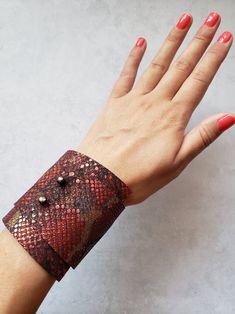 Red leather bracelet red snake bracelet snake print cuff | Etsy