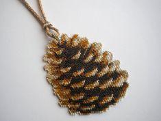 Pinecone Necklace  Peyote Stitch Pendant by RareSpecimens on Etsy.