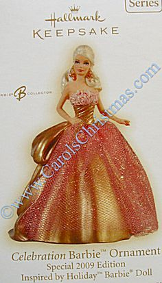 #10~ (SHE NEEDS THIS ONE) 2009 Celebration Ornament~ Barbie is wearing a gold dress with a pink overlay in this 2009 Hallmark Keepsake Christmas ornament.   Series: Celebration Barbie