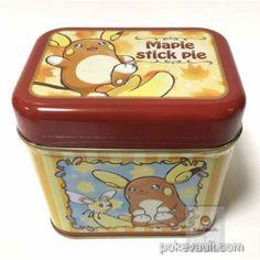 Pokemon Center 2016 Alola Raichu Teddiursa Pikachu Cutiefly Maple Stick Pie Collector Tin