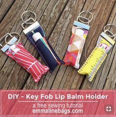 Sewing Gifts For Men Emmaline Bags: Sewing Patterns and Purse Supplies: How to Make a Key Fob Lip Balm Holder - A Free Tutorial Bag Patterns To Sew, Sewing Patterns Free, Free Sewing, Sewing Men, Crochet Patterns, Creeper Minecraft, Sewing Hacks, Sewing Tutorials, Sewing Tips