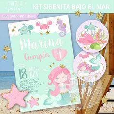 Mermaid Party Invitations, Watercolor Invitations, Unicornios Wallpaper, Watercolor Mermaid, Mermaid Crown, Mermaid Parties, Alice, Printable Designs, Mermaid Birthday