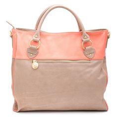 coral and gray tote
