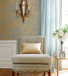 Damask wallpaper, wainscotting, curtains....just gorgeous!