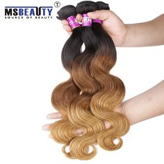 Msbeauty Brazilian Hair Ombre Hair Extension Three Tones 1B/4/27# Brazilian Body Wave Virgin Hair