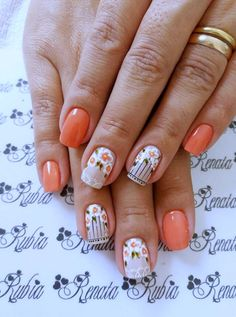 54 ideas for fails art spring peaches Beautiful Nail Art, Gorgeous Nails, Pretty Nails, Spring Nails, Summer Nails, Floral Nail Art, Unicorn Nails, Orange Nails, Flower Nails