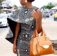 Ankara Cape Dress ~African fashion, Ankara, kitenge, African women dresses, African prints, Braids, Nigerian wedding, Ghanaian fashion, African wedding ~DKK