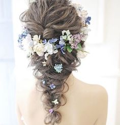Romantic Curly Waterfall Braid - 18 Alluring Loose Updos for Any Event - The Trending Hairstyle Romantic Wedding Hair, Wedding Hair Flowers, Flowers In Hair, Wedding Bride, Wedding Venues, Curly Waterfall Braid, Loose Updo, Texturizer On Natural Hair, Hair Arrange