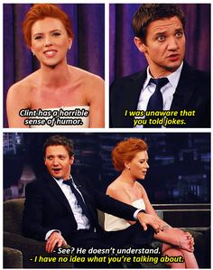 Marvel: The Avengers - Black Widow - Scarlett Johansson and Hawkeye - Jeremy Renner Marvel Dc Comics, Marvel Avengers, Marvel Actors, Marvel Funny, Marvel Movies, Avengers Cast, Jeremy Renner, Avengers Humor, Avengers Quotes