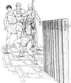 Penelope offers a challenge to the suitors: whoever strings the bow and shoots an arrow through twelve axe handles may claim Penelope as his bride.