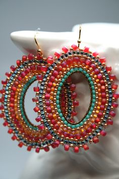 Spanish Dance seed bead earrings hoops gypsie by createdbycarla