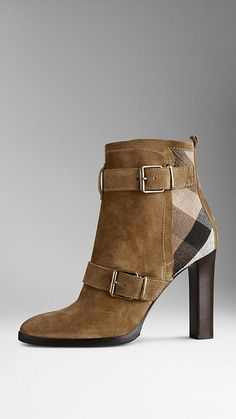 Light oak brown Check Panel Belted Suede Boots - Image 1