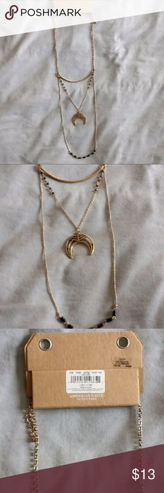 NWT American Eagle (AEO) layered moon necklace -Burnished gold tone necklace with 3 layers: gold arc, crescent moon charm with black bead detail, black beads at bottom -Adjustable clasp -Long necklace falls below the bust -New with tags, never worn! -pet-free, smoke-free home American Eagle Outfitters Jewelry Necklaces