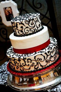Regal, black, white and red wedding cake