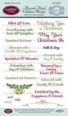 Becca Feeken Mix and Match Christmas Blessings, Christmas Wreath Cling Stamp, Bells of Christmas Cling Stamps | JustRite Papercraft Inspiration Blog