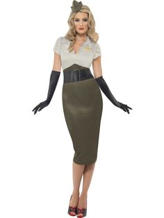 WW2 Army Pin Up Spice Darling Costume £20.99 : Direct 2 U Fancy Dress Superstore. http://direct2ufancydress.com/ww2-army-pin-up-spice-darling-costume-p-4007.html