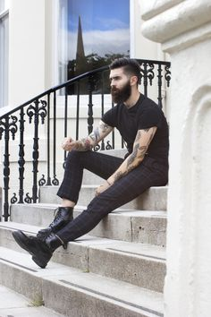 Chris John Millington - Beard and Tats, yes please! Moustaches, Chris Millington, Chris John, Men's Street Style Photography, Beard Boy, Great Beards, Herren Outfit, Comme Des Garcons, Hair And Beard Styles