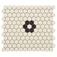 "EliteTile New York 0.875"" x 0.875"" Hex Porcelain Unglazed Mosaic Tile in Antique White with Flower"