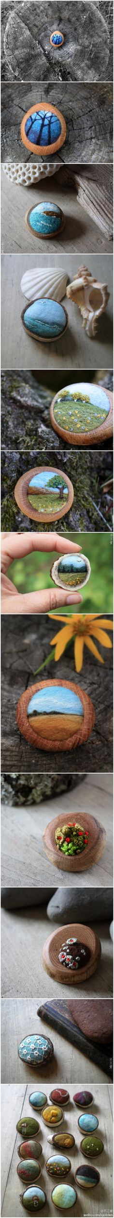 These are needle felted brooches by Lisa Jordan of lil fish studios, but wouldn't it be beautiful painted rocks.