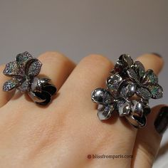 Midnight Frangipani collection by Jade Jagger: Twin Flower Ring and Stacking Ring > Black Rhodium, Plated Sterling Silver and Multi Stones Pavé