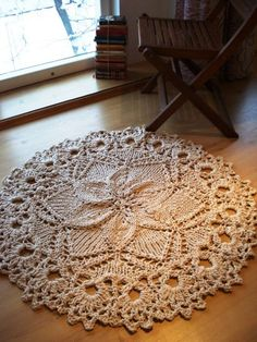 Hand Knitted Rope Giant Doily Rug with crochet edge 100% by ELITAI