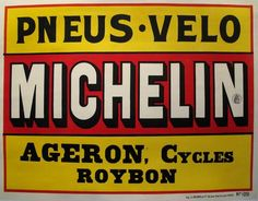Horizontal 1920s Art Deco Advertisment, Michelin Car and Bicycle Tires (30.75 x 23.25 inches)