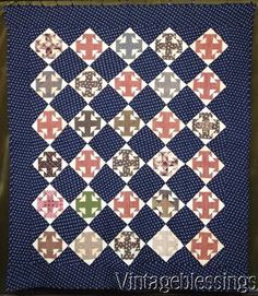 "Outstanding & Classic 1860-1880 Deep Indigo Blue Double T QUILT 71x62"" Civil War"