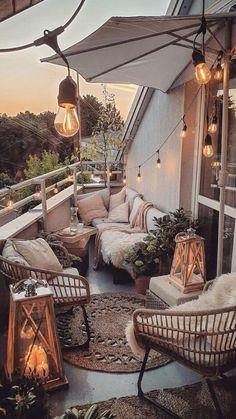 Terrace Decor, Patio Balcony Ideas, Small Balcony Design, Modern Balcony, Cozy Patio, Apartment Balcony Decorating, Patio Decorating Ideas, Cozy Apartment, Boho Home