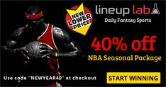 "40% off the rest of #NBA #DFS Seasonal Package (only ~$77!) (including #NBAPlayoffs)  This is the lowest price it has been this #season!  #FantasyBasketball #Basketball #NBAvote #Cavs #Warriors #DailyFantasySports #Fantasy #Fanduel #Draftkings #Celtics  SALE: 40% off entire NBA Seasonal Package - Coupon Code ""NEWYEAR40"""