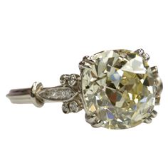"Cushion Cut Diamond Ring  USA  1920  3.71ct OP/VS Cushion cut diamond set in a platinum hand crafted ""Single Stone"" mounting.  Price  $26,400"