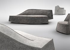 Milan French designer Jean-Marie Massaud has created chunky grey seating resembling the jagged forms of an iceberg for Swedish furniture brand Offecct.Massaud's Airberg collection for Offecct … Funky Furniture, Handmade Furniture, Sofa Furniture, Furniture Design, Geometric Furniture, Royal Chair, Gris Taupe, Asymmetrical Design, Take A Seat
