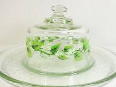 cheese dome | Cheese Dome Hand Painted Green Leaves White Flowers Cheese Cracker ...