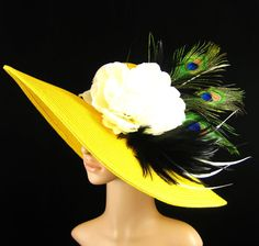 DERBY Hat with Peacock Feathers Tea Party Hat by theoriginaltree, $78.99