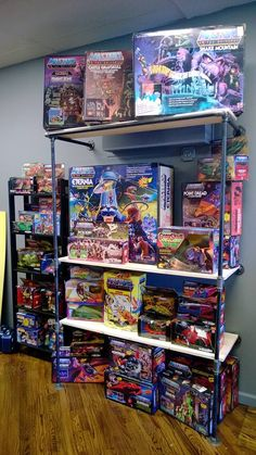 A collection of 1980s-era boxed playsets and vehicles from Mattel's Masters of the Universe toys