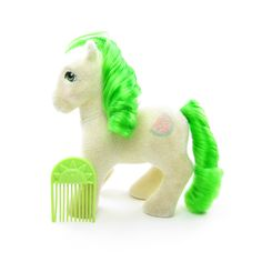 So Soft Scrumptious My Little Pony with Sunshine comb Original My Little Pony, Vintage My Little Pony, Green Hair, Green Eyes, Baby Pony, Watermelon Slices, Rainbow Brite, Fantasy Dragon, Little Sisters