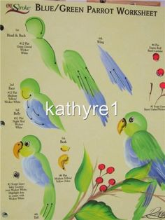 Donna Dewberry One Stroke BLUE/GREEN PARROT Worksheet