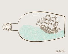 This Paper Ship - Ship In A Bottle - Print