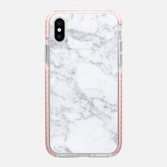 Grey marble - Impact Case with pink edges