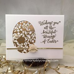 Easter card by Janet: Suite Sayings, Gold Foil Paper, Bloomin' Heart Thinlits, Ovals framelits - all from Stampin' Up!